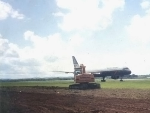 Preparation and Seeding works at Edinburgh Airport on the edge of the runway.
